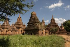 Temples and pagodas of Bagan. View of the archaeological park of the ancient temples and pagodas of Bagan. Myanmar royalty free stock photo