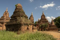 Temples and pagodas of Bagan. View of the archaeological park of the ancient temples and pagodas of Bagan. Myanmar royalty free stock image