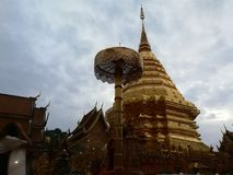 Thailand Temples and pagodas are Beautiful cultural attractions on the mountain in Northern of Thailand. Temples and pagodas are Beautiful cultural attractions Stock Photography
