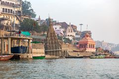 Temples and palaces on the ghats at Ganges river, Varanasi stock image