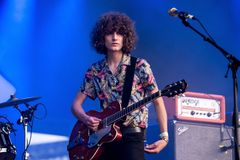 Temples psychedelic pop music band perform in concert at FIB Festival. BENICASSIM, SPAIN - JUL 14: Temples psychedelic pop music band perform in concert at FIB Stock Photo