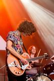 Temples psychedelic pop music band perform in concert at FIB Festival. BENICASSIM, SPAIN - JUL 14: Temples psychedelic pop music band perform in concert at FIB Royalty Free Stock Photo
