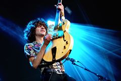Temples psychedelic pop music band perform in concert at FIB Festival. BENICASSIM, SPAIN - JUL 14: Temples psychedelic pop music band perform in concert at FIB Stock Image
