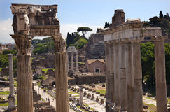 Temples of Saturn Forum Rome Italy Royalty Free Stock Images