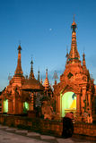 The temples at Shwedagon Pagoda in evening Royalty Free Stock Photography