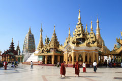 The temples at Shwedagon Pagoda Royalty Free Stock Image