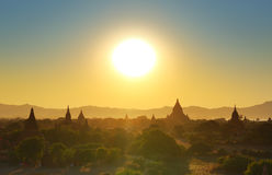 Temples silhouette in Bagan at sunset Stock Photos
