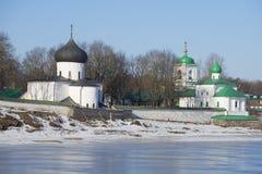 The temples of the Spaso-Preobrazhenskiy Mirozhsky monastery. Pskov. Russia Stock Images