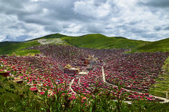 Temples of Tibetan Buddhism. This is the border of Sichuan and Tibet in China, Temples of Tibetan Buddhism Royalty Free Stock Images