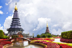 Temples on top of the mountain in Thailand Royalty Free Stock Photography