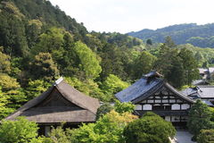 Temples in the Trees. Buddhist temples seen through the trees, Kyoto, Japan Stock Photo