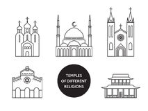 Temples of world different religions. Infographics Stock Photo