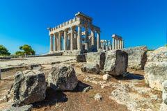 Templet av Aphaia på i Grekland royaltyfria foton