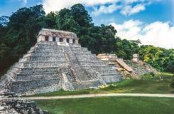 Templet av inskrifter på mayan fördärvar av Palenque Chiapas, royaltyfria foton