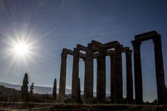 Templet av olympiska Zeus i Aten, Grekland arkivfoto