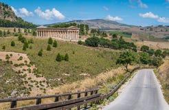 Templet av Venus i Segesta, gammalgrekiskastad i Sicilien, sydliga Italien arkivbild
