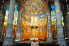Templet Expiatori del Sagrat Cor på toppmötet av monteringen Tibidabo i Barcelona. Spanien. arkivbild