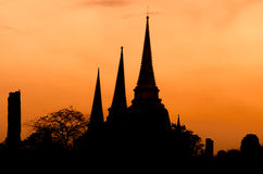 Templet fördärvar på Ayutthaya i Thailand Arkivbilder