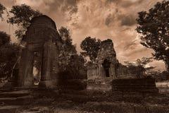 Templet fördärvar i Angkor Arkivfoton