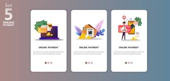 Templete en línea del app del ejemplo del concepto del pago ilustración del vector