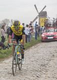 The Cyclist Maarten Wynants - Paris-Roubaix 2018. Templeuve, France - April 08, 2018: The Belgian cyclist Maarten Wynants of Team LottoNL-Jumbo riding in the Stock Photos