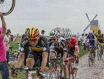 The Cyclist Mike Teunissen - Paris-Roubaix 2018. Templeuve, France - April 08, 2018: The Dutch cyclist Mike Teunissen of Team Sunweb riding in the peloton on the Royalty Free Stock Images
