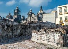 Templo中心市长,墨西哥城的历史的 图库摄影