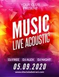Templo acústico do projeto do cartaz da música ao vivo Inseto moderno do convite do DJ do partido do espetáculo ao vivo ilustração royalty free