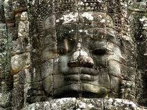 Templo Angkor Wat Cambodia de Bayon de la cara Imagen de archivo libre de regalías