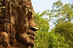 Templo antigo Angkor Wat de Bayon da cara Imagens de Stock Royalty Free