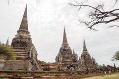 Templo antigo dos pagodes da Buda três em Ayutthaya, Tailândia Foto de Stock