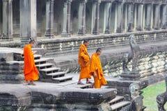 Templo antiguo de Angkor Wat de los monjes budistas, Siem Reap Foto de archivo