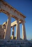 Templo antiguo de Aphaia en la isla de Aegina, Grecia Imagen de archivo libre de regalías