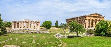 Templo antiguo en Paestum famoso arqueológico, Campania, Italia Fotografía de archivo