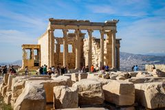 Templo antiguo famoso del Parthenon en Atenas foto de archivo