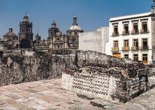 Templo Bürgermeister Mexiko City Cathedral Lizenzfreie Stockbilder