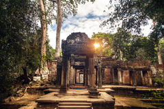 Templo budista antigo do khmer no complexo Camboja de Angkor Wat Foto de Stock