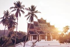 Templo budista con las palmeras Imagen de archivo libre de regalías