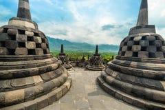 Templo budista de Borobudur Java central, Indonésia fotografia de stock royalty free