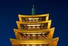 Templo budista de Sensoji en la noche Foto de archivo libre de regalías