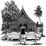 Templo budista en Asia con los monjes Foto de archivo