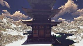 Templo budista en la representación de las montañas rocosas 3d Imagenes de archivo