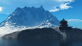 Templo budista en la representación de las montañas rocosas 3d Foto de archivo