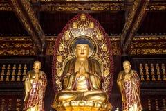 Templo budista Estatua de oro de Buda-- Xian (Sian, Xi'an), China Fotos de archivo