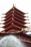 Templo budista Indicador chinês vermelho das lanternas, tomado nas celebrações chinesas do ano novo Vermelha é a cor afortunada p foto de stock