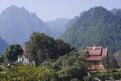 Templo budista na proibição Phatang, Lao People Democratic Republic Fotografia de Stock