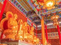 Templo chinês da Buda em Wat Leng Noei Yi Nonthaburi, Tailândia Imagens de Stock Royalty Free