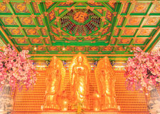 Templo chinês da Buda em Wat Leng Noei Yi Nonthaburi, Tailândia Foto de Stock Royalty Free