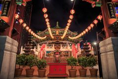 Templo chinês no templo muito famoso de Yokohama ou de Kanteibyo Kuan Ti Miao Temple imagens de stock royalty free
