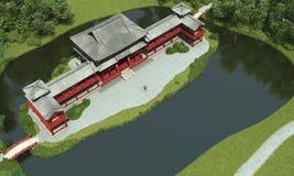 Templo chinês pelo lago Fotos de Stock Royalty Free